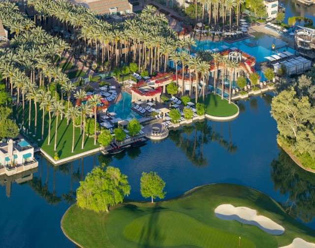 An aerial shot of the kid friendly Hyatt Regency Scottsdale Resort and Spa at Gainey Ranch
