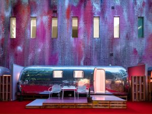 Six Airstream trailers have been refitted to house guests on the roof of a concrete parkade in Melbourne, Australia.