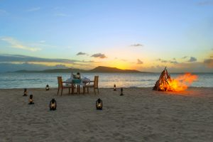Gourmet dining on the beach at Petit St. Vincent hotel