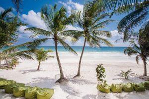 The quiet white-sand beach at Zorba Beach Homes