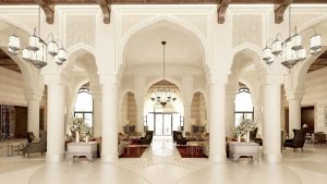 The grand lobby of the first Marriott Luxury Collection hotel in Jordan, Al Manara
