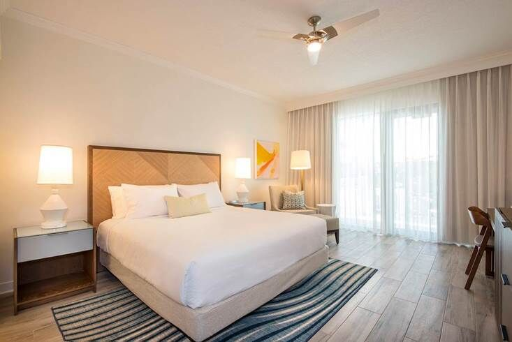 Simply-decorated guest room at Hawks Cay resort