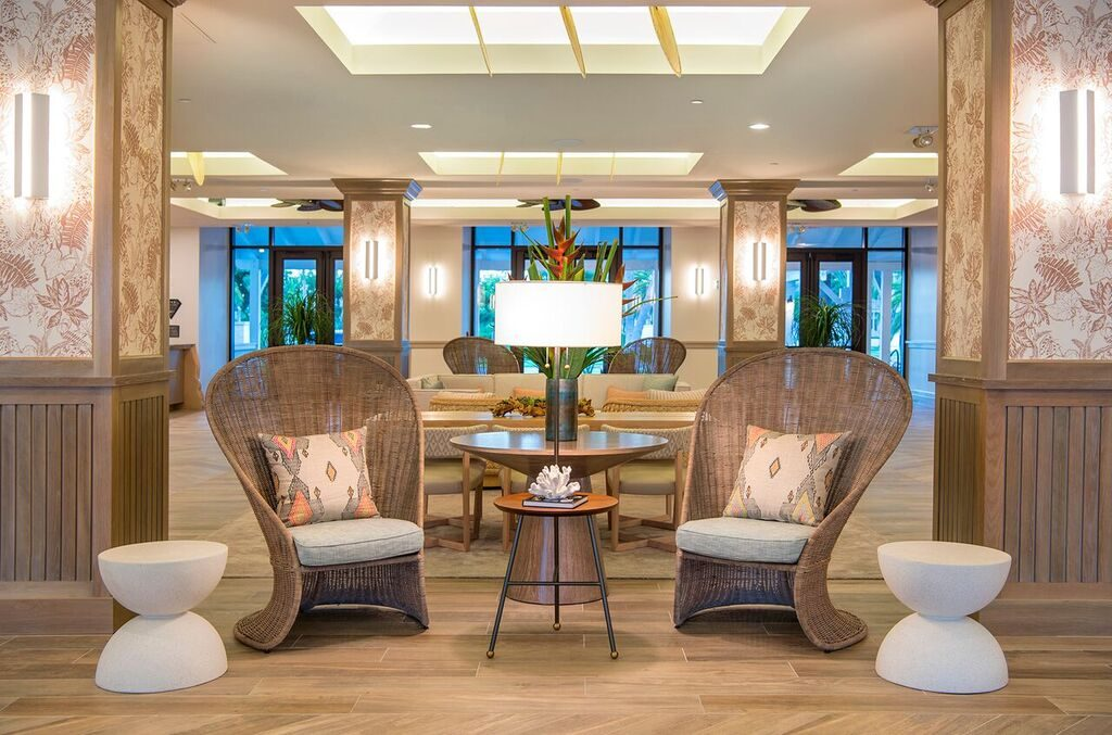 The contemporary lobby at Hawks Cay hotel in the Florida Keys