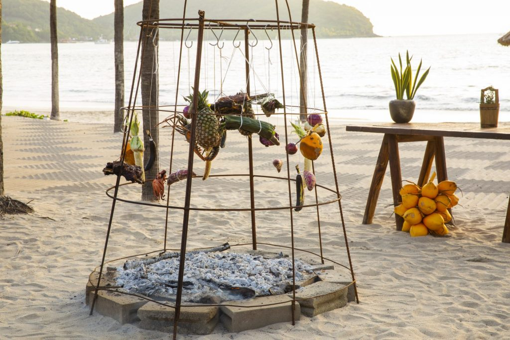 Fire roasting cage at CENIZA, Thompson Zihuatanejo, Mexico