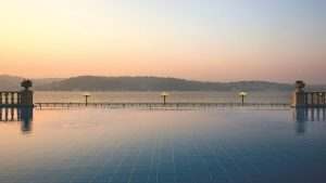 The infinity pool at the Çırağan Palace Kempinski Hotel Istanbul looks out over the Bosphorus Sea