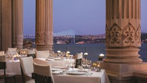 The view from Ciragan Palace Kempinski's Tugra restaurant is undeniably romantic.