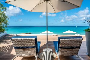 Terrace of a junior suite at Fairmont Royal Pavilion in Barbados