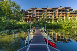 Beautiful image of dock at Nita Lake Lodge in Whistler, BC Canada
